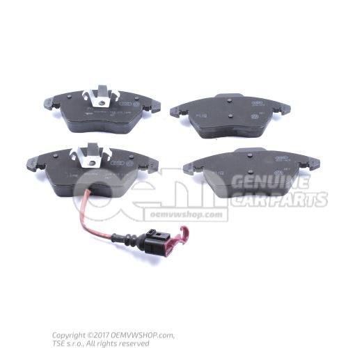1 set: brake pads with wear indicator for disc brake 5K0698151